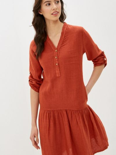 Коричневое прямое платье Baon