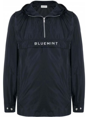 Niebieska długa kurtka z kapturem z haftem Bluemint