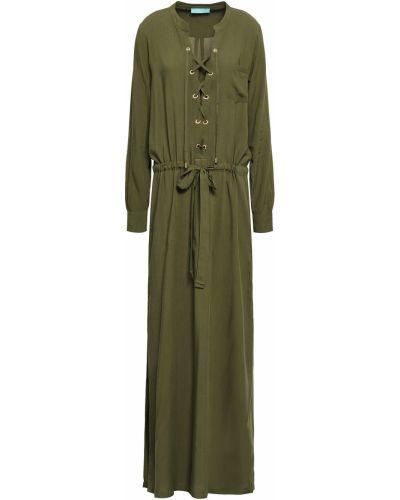 Плиссированное кружевное зеленое платье макси Melissa Odabash