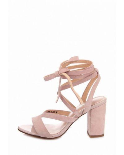Босоножки на каблуке замшевые розовый Ditto