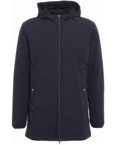 Długi płaszcz z kapturem - niebieski Herno