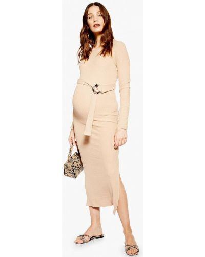 Платье для беременных весеннее бежевое Topshop Maternity