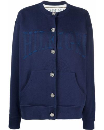 Синий кардиган на пуговицах с вышивкой Hilfiger Collection
