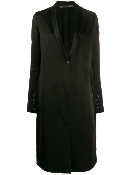 Черное длинное пальто с капюшоном на пуговицах Transit
