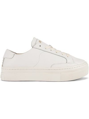 Кожаные белые кроссовки на платформе Soludos