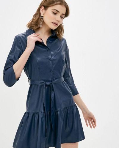 Кожаное синее платье Rinascimento