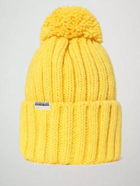 Желтая теплая шапка с отворотом Napapijri