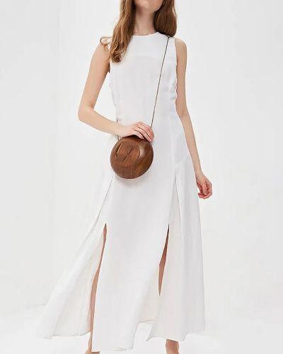 Белое платье миди с вырезом из вискозы Baon