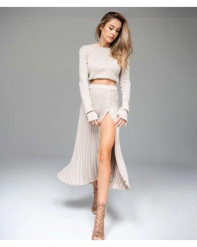 Spódnica z wiskozy - beżowa Aniklova