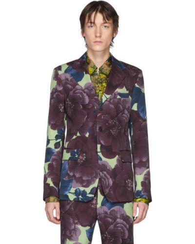 Малиновый удлиненный пиджак с карманами с воротником Dries Van Noten