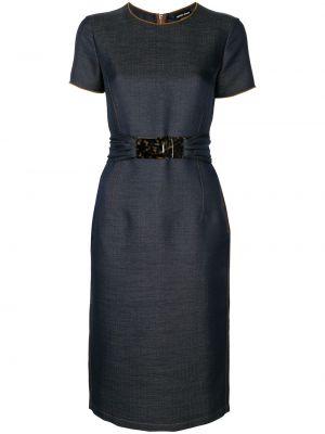 Платье мини серое с поясом Giorgio Armani