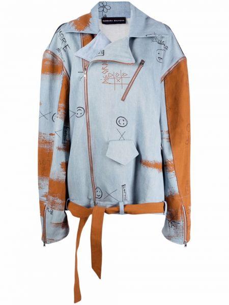 Коричневая джинсовая куртка байкерская болоньевая Barbara Bologna