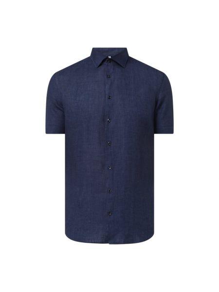 Niebieska lniana koszula slim krótki rękaw Seidensticker