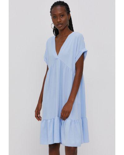 Niebieska sukienka mini z falbanami oversize Hailys