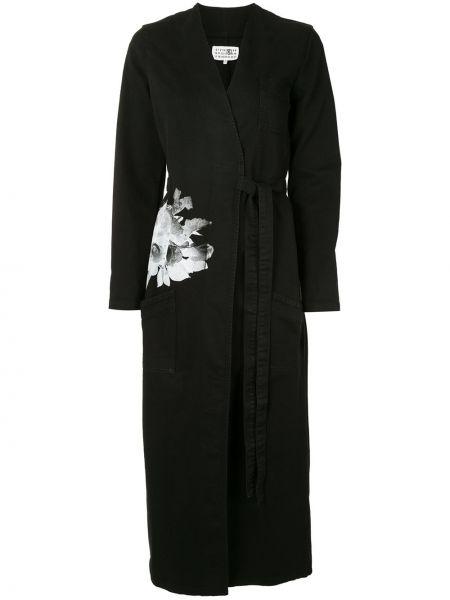 Длинное пальто с запахом с принтом Mm6 Maison Margiela