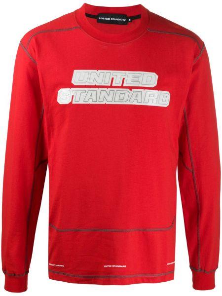С рукавами красный свитер свободного кроя с вырезом United Standard