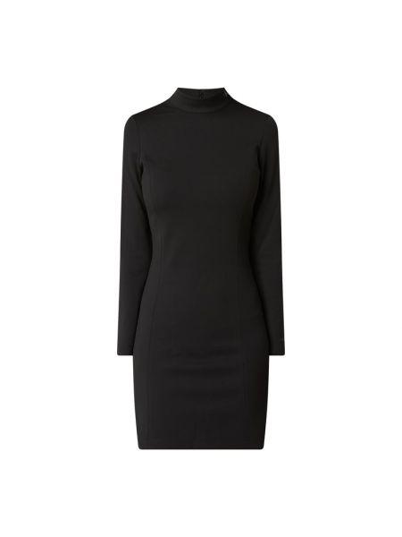 Czarny z paskiem dżinsowa sukienka z zamkiem błyskawicznym na paskach Calvin Klein Jeans