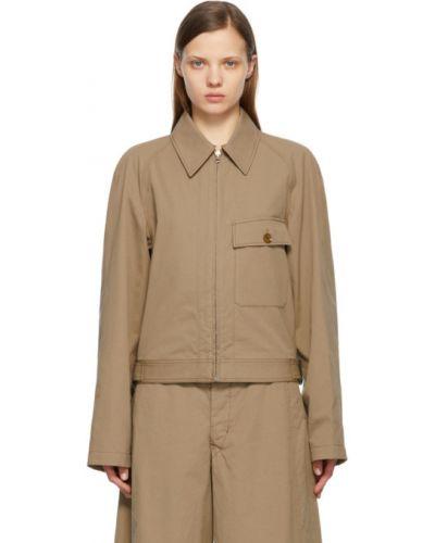 Beżowa długa kurtka bawełniana z długimi rękawami Lemaire