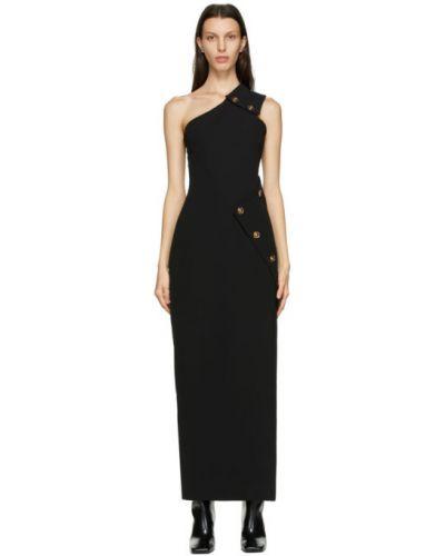 Шелковое черное платье макси на одно плечо Versace