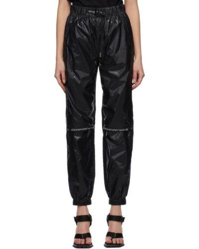Satynowe czarne spodnie z siateczką Alexander Wang