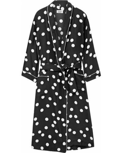Шелковый черный халат с заплатками Sleepy Jones