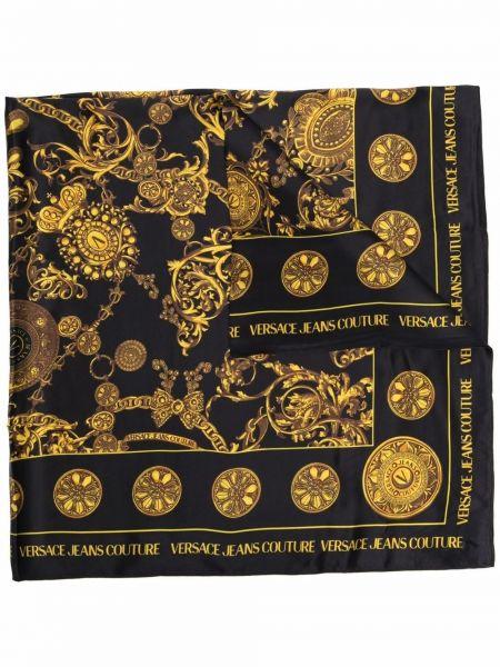 Szalik z jedwabiu - czarny Versace Jeans Couture