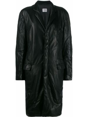 Черное кожаное длинное пальто с капюшоном Giorgio Armani Pre-owned