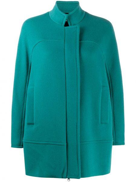 Зеленое шерстяное длинное пальто с воротником Alberto Biani
