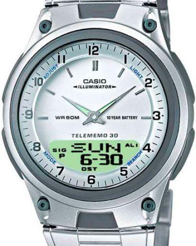 Часы водонепроницаемые с подсветкой белые Casio