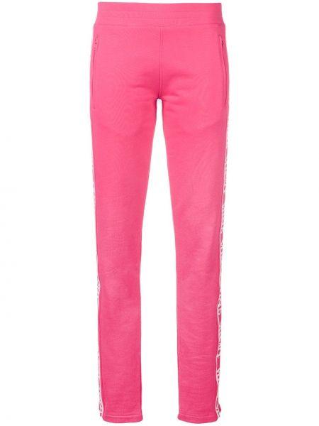 Хлопковые розовые спортивные брюки с карманами на молнии Versus