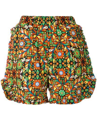 Оранжевые шорты с оборками La Doublej
