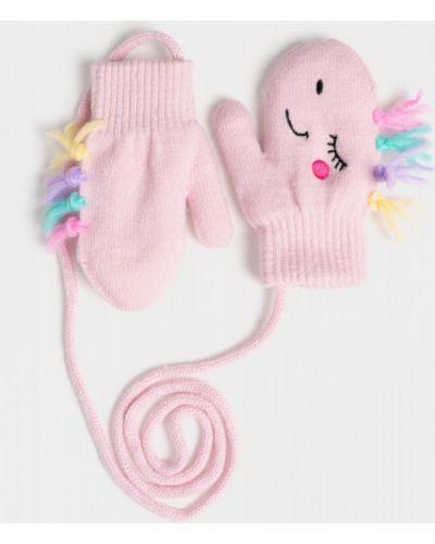 Флисовые розовые вязаные перчатки Ostin