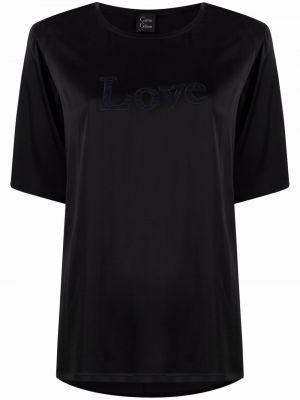 Кружевная черная шелковая прямая футболка Carine Gilson