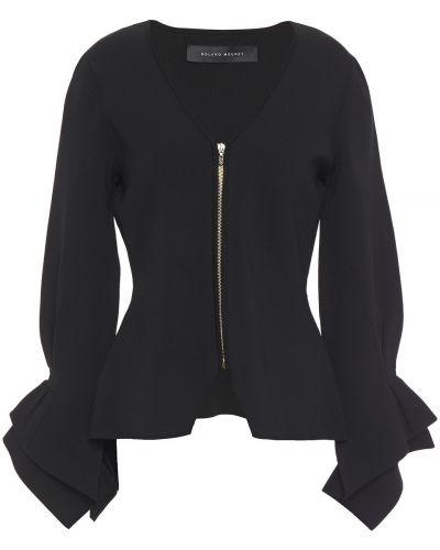 Текстильная черная куртка с манжетами Roland Mouret