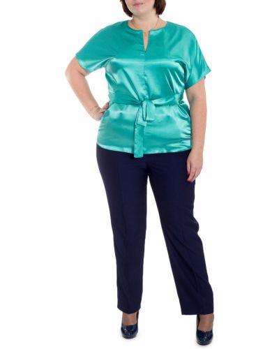 Блузка бирюзовая с поясом Lacy_plus