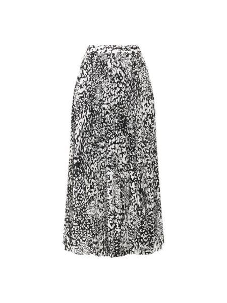 Шелковая юбка миди - белая Escada