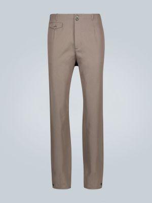 Brązowe spodnie bawełniane zapinane na guziki Rochas