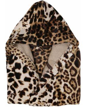 Brązowy szlafrok bawełniany z kapturem Roberto Cavalli