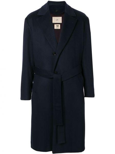 Кашемировое синее стеганое длинное пальто на пуговицах Loveless