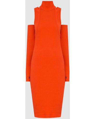 Платье миди в рубчик - оранжевое Balmain
