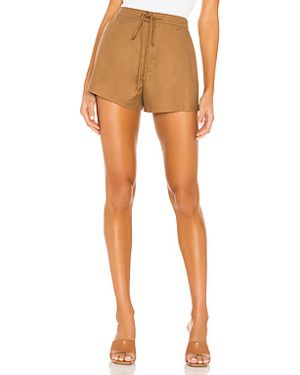Шелковые коричневые шорты с карманами на крючках L'academie