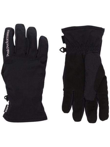 Ciepłe czarne rękawiczki z haftem Peak Performance