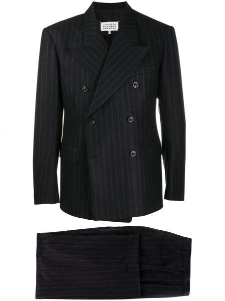 Czarny kostium garnitur dwurzędowy z paskiem Maison Margiela
