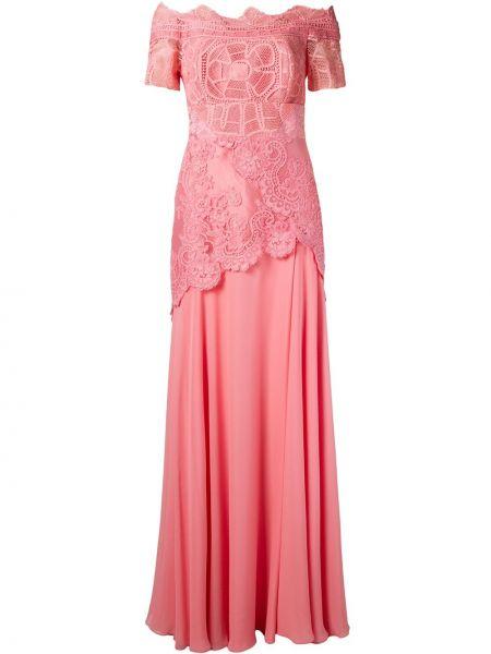 Шелковое розовое платье мини с воротником на молнии Martha Medeiros