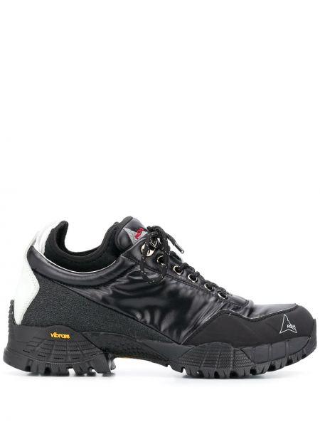 Czarne sneakersy skorzane sznurowane Roa
