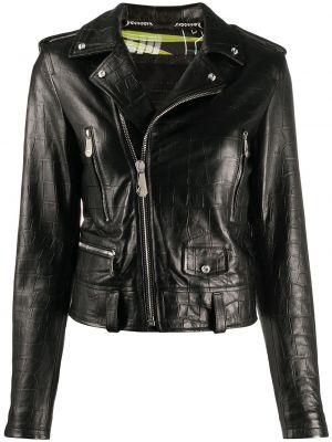 Черная кожаная куртка байкерская Philipp Plein
