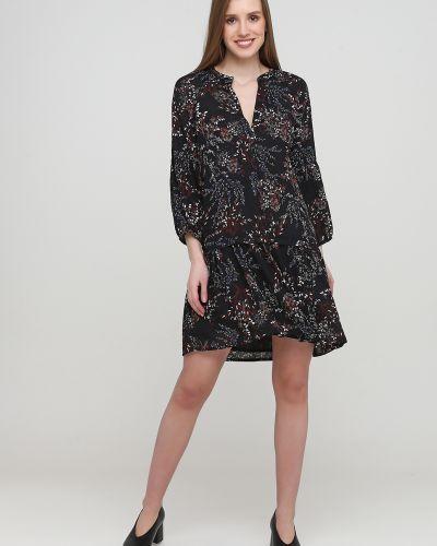 Расклешенное черное платье с вырезом Kookai