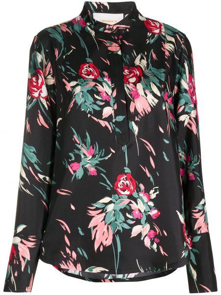 Шелковая с рукавами черная классическая рубашка La Doublej