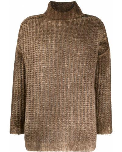 С рукавами шелковый коричневый вязаный джемпер с высоким воротником Avant Toi