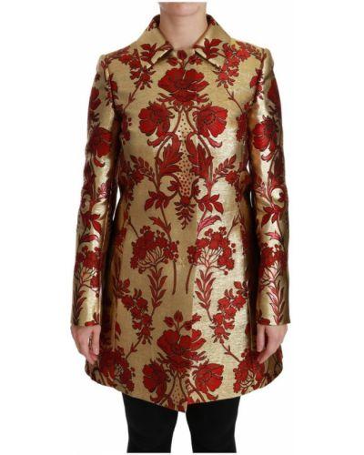 Złota czerwona narzutka zapinane na guziki Dolce And Gabbana